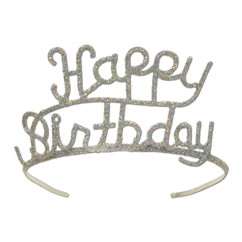 Glittered Metal Happy Birthday Tiara by Beistle - Birthday Party Supplies Decorations