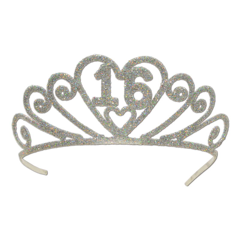 Glittered Metal 16 Tiara by Beistle - Sweet 16 Birthday Decorations