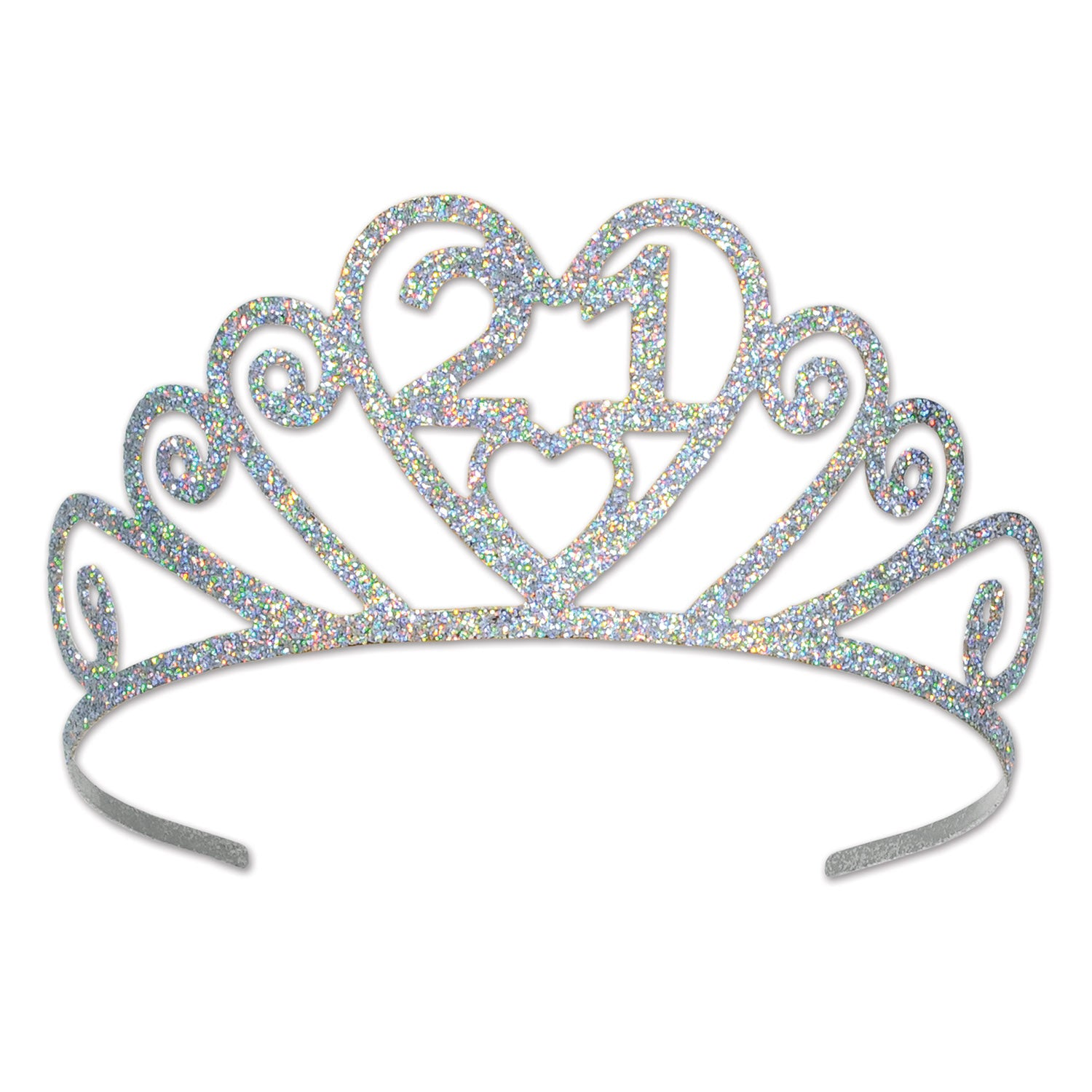 Glittered Metal 21 Tiara by Beistle - 21st Birthday Theme Decorations