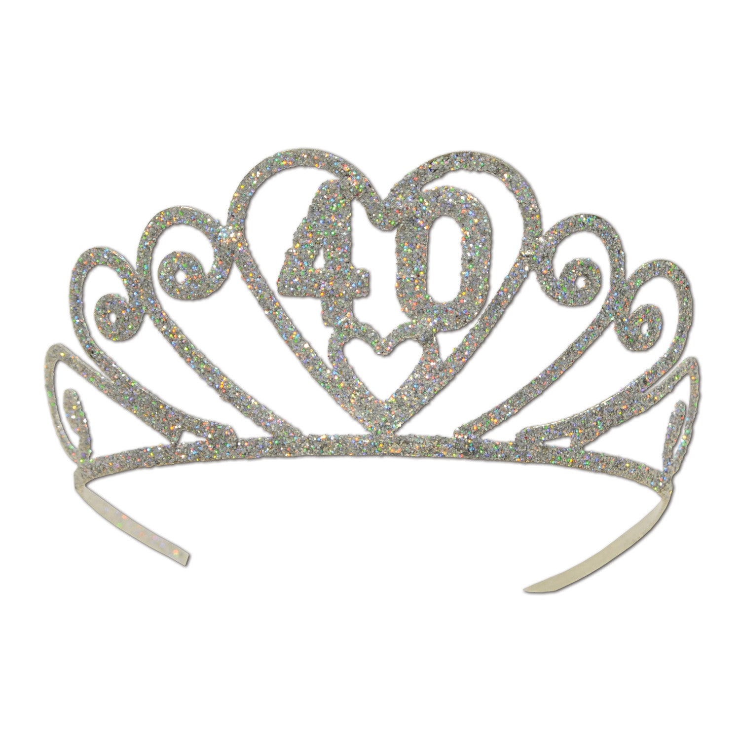 Glittered Metal 40 Tiara by Beistle - 40th Birthday Party Decorations
