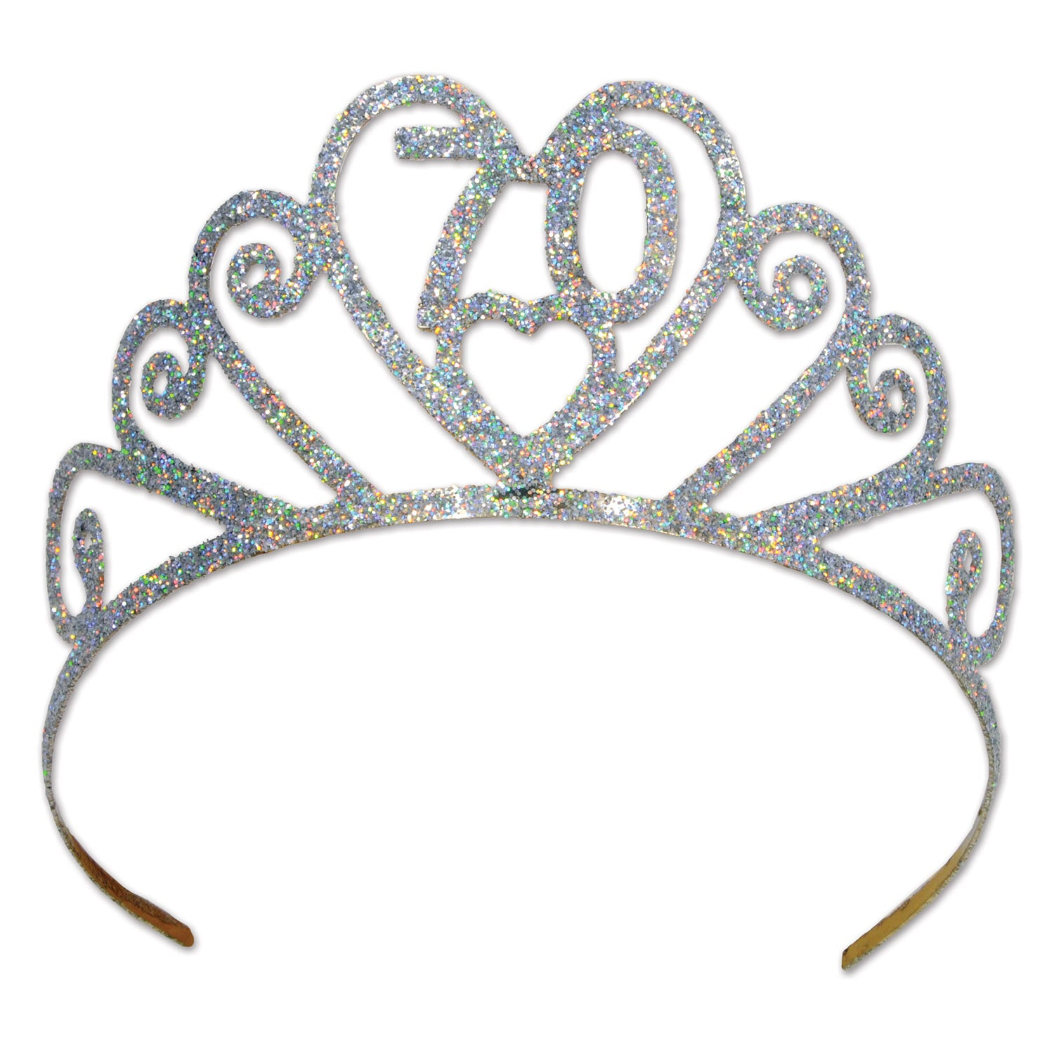 Glittered Metal 70 Tiara by Beistle - 70th Birthday Party Decorations