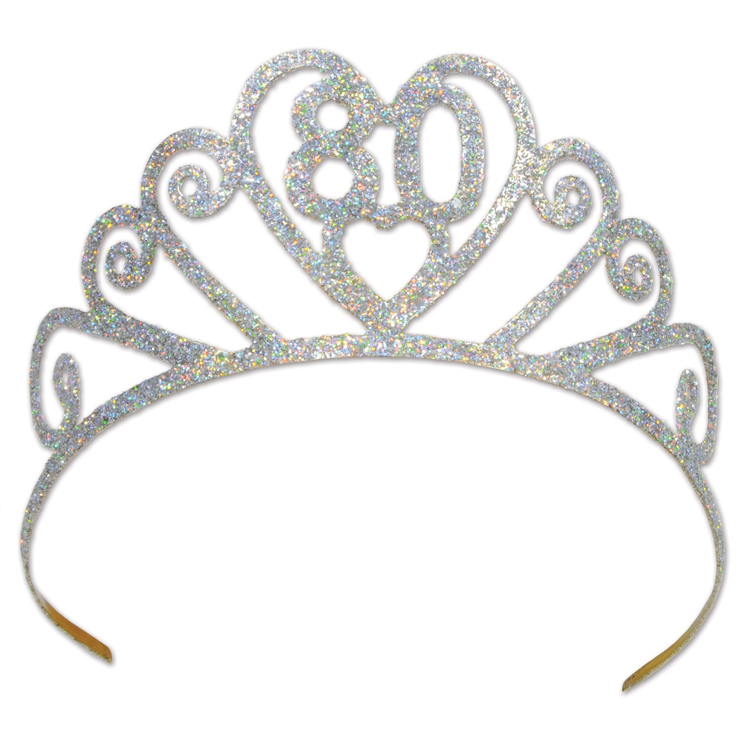Glittered Metal 80 Tiara by Beistle - 80th Birthday Party Decorations