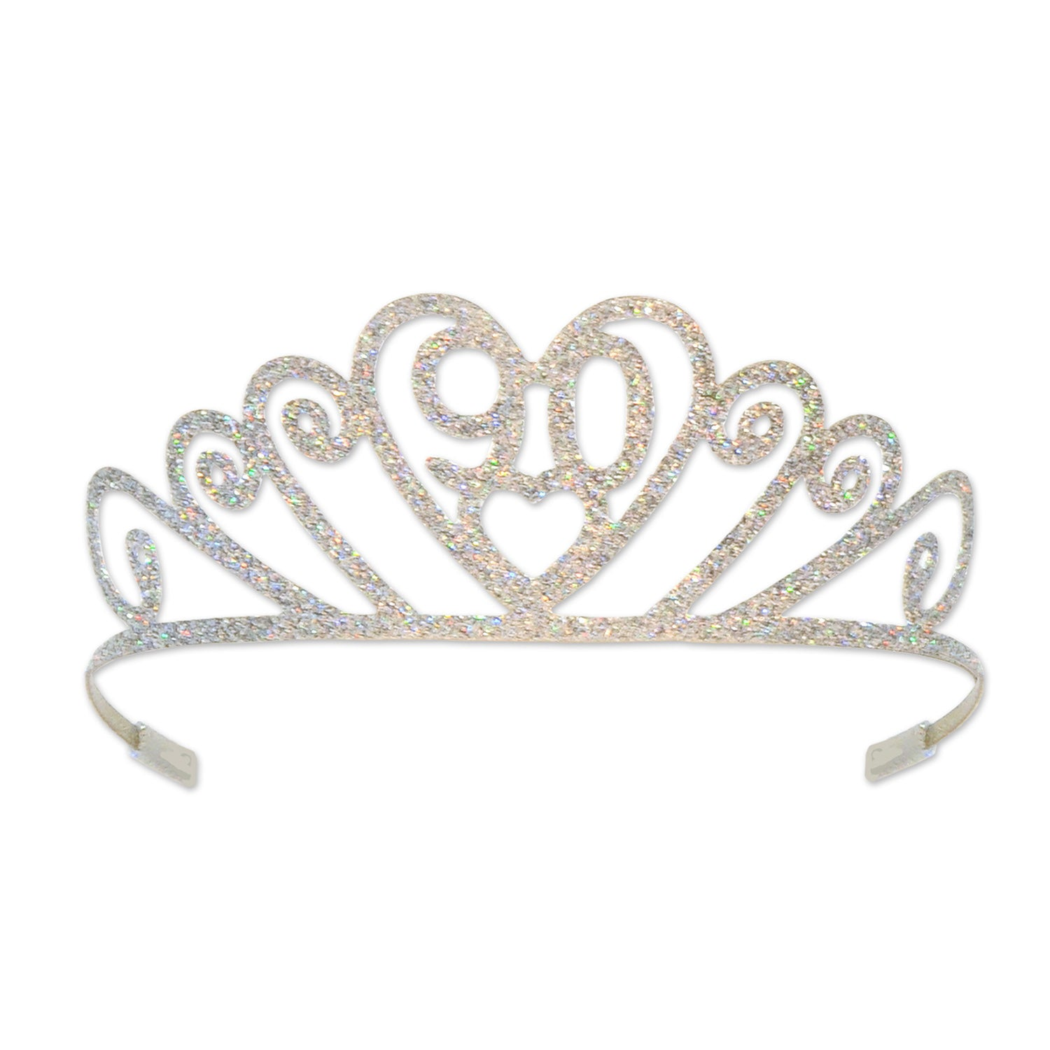 Glittered Metal 90 Tiara by Beistle - 90th Birthday Party Decorations