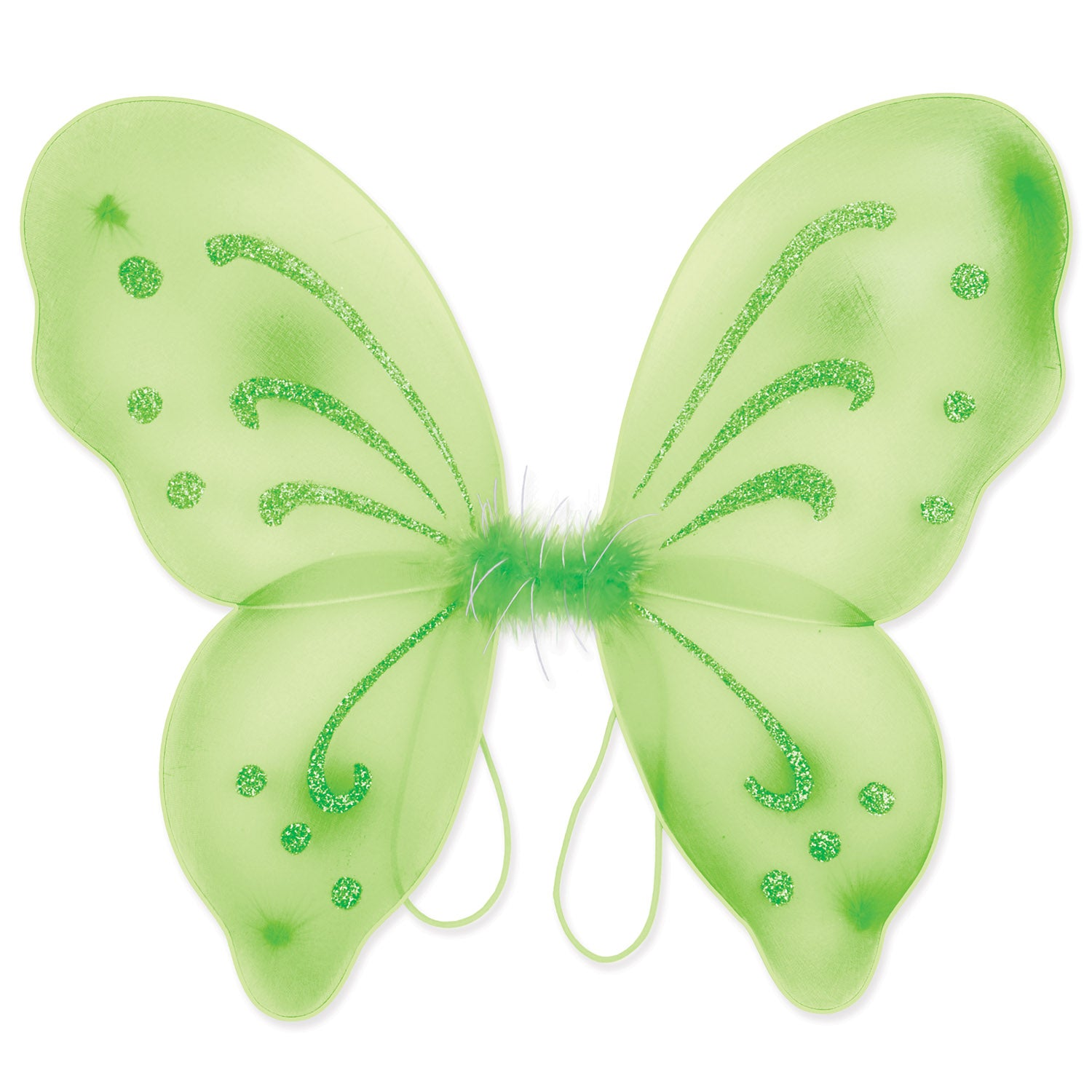 Nylon Fairy Wings, lt green; elastic armbands by Beistle - Halloween Theme Decorations