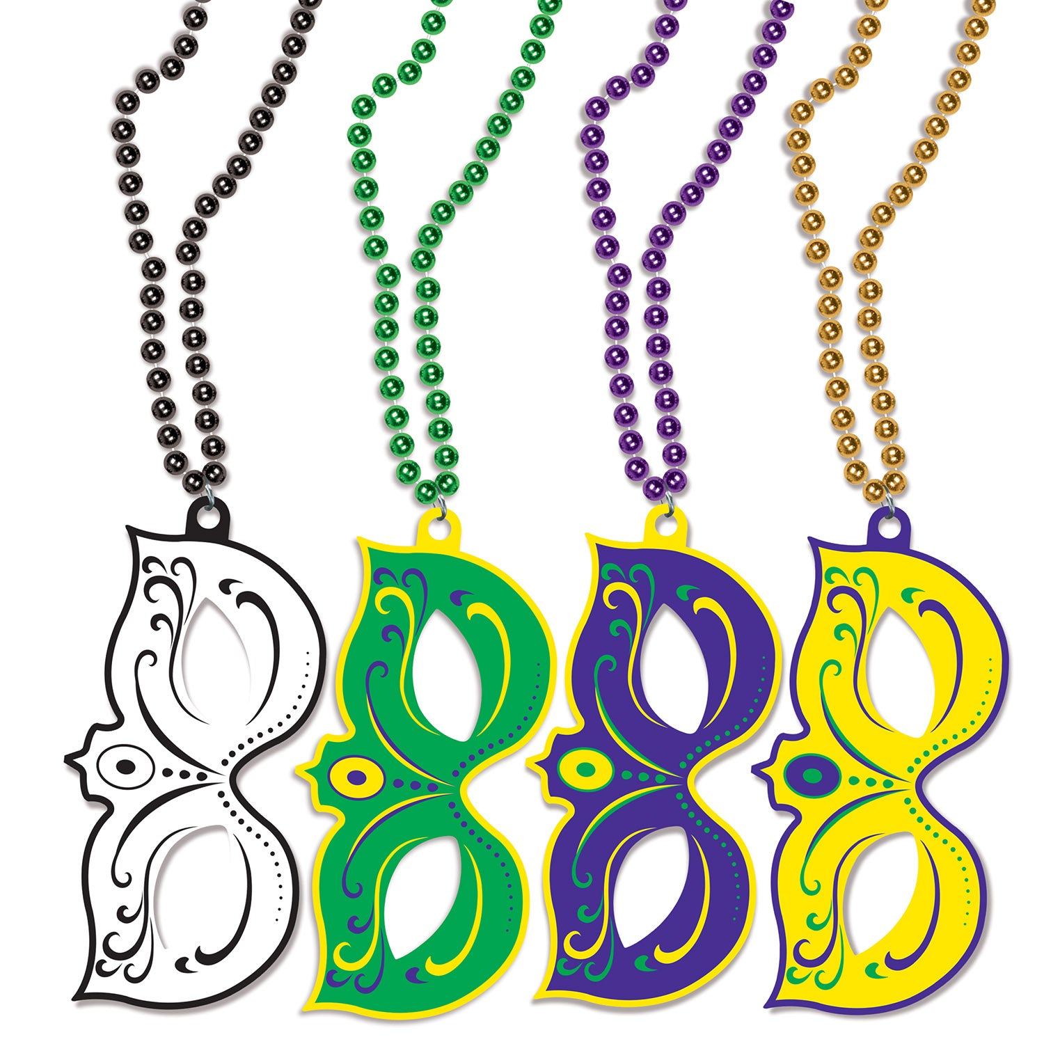 Mardi Gras Masks w/Beads (4/Pkg) by Beistle - Mardi Gras Theme Decorations
