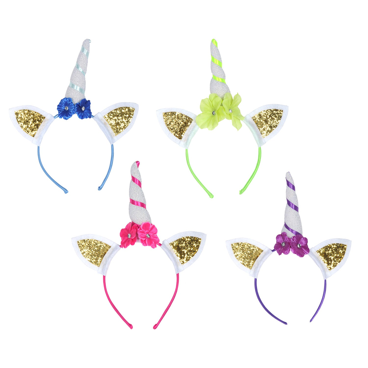 Glittered Unicorn Headbands (4/Pkg) by Beistle - Unicorn Theme Decorations