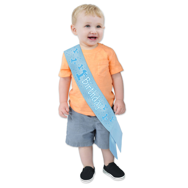 1st Birthday Satin Sash, blue by Beistle - 1st Birthday Party Decorations