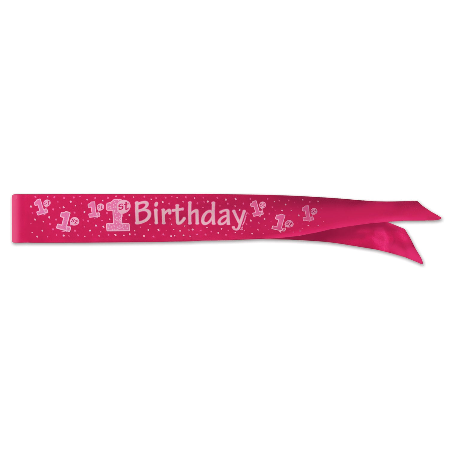 1st Birthday Satin Sash, pink by Beistle - 1st Birthday Party Decorations