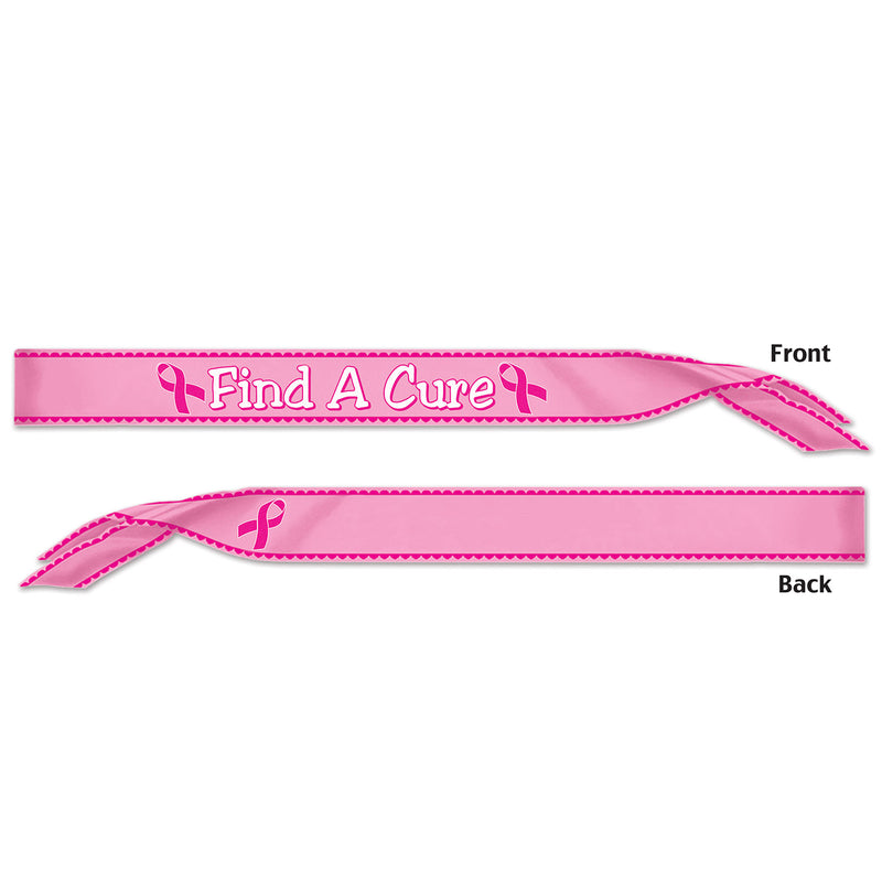Find A Cure Satin Sash by Beistle - Pink Ribbon Theme Decorations