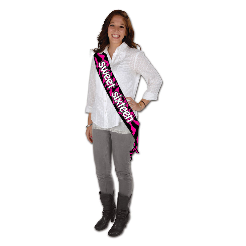Sweet Sixteen Satin Sash by Beistle - Sweet 16 Birthday Decorations