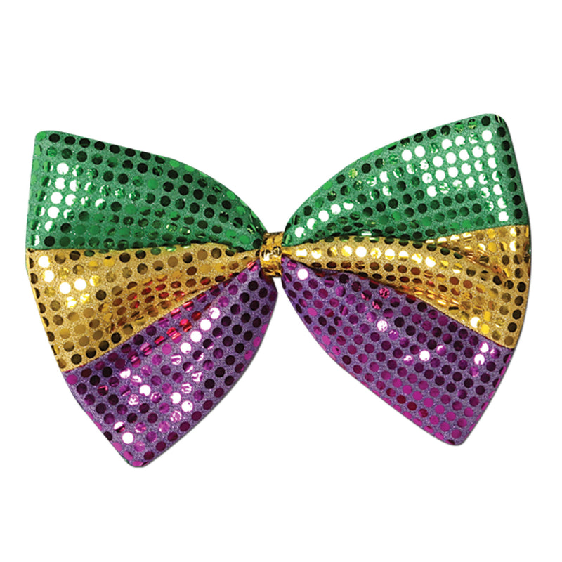 Jumbo Mardi Gras Glitz 'N Gleam Bow Tie by Beistle - Mardi Gras Theme Decorations