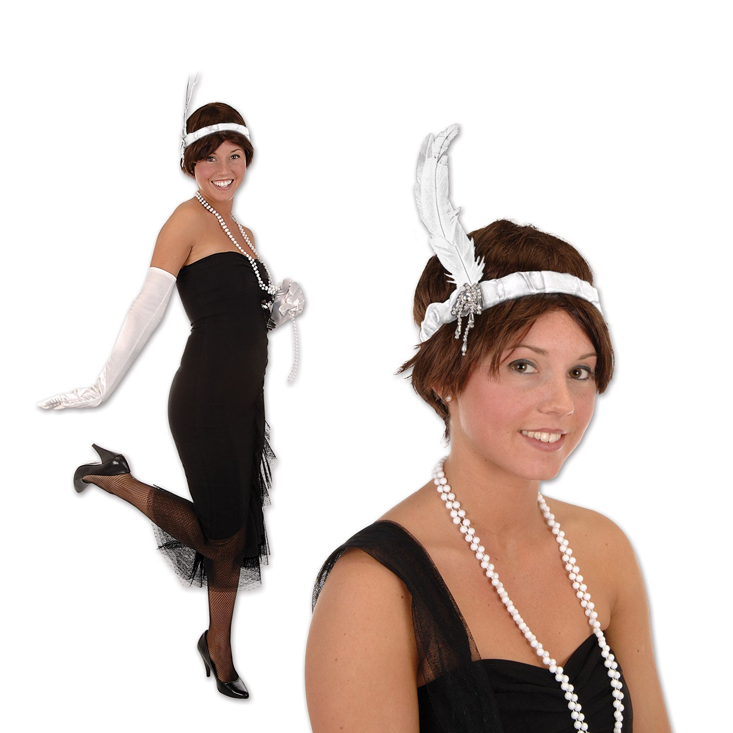 Flapper Headband, white by Beistle - 20's Theme Decorations