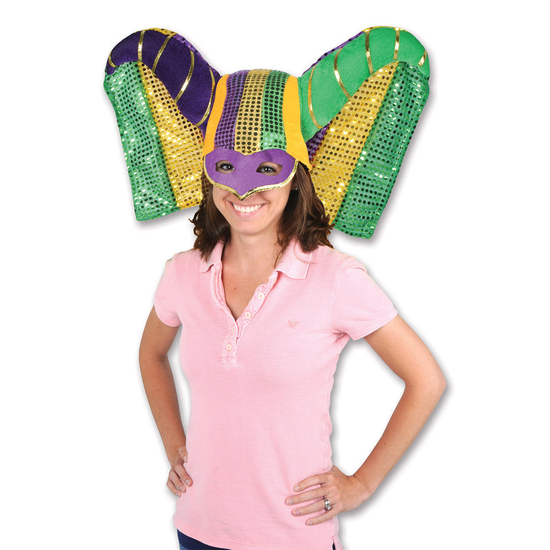 Masked Mardi Gras Hat w/Sequined Drape by Beistle - Mardi Gras Theme Decorations
