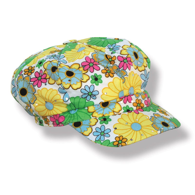 Fabric 60's Flower Print Hat by Beistle - 60's Theme Decorations