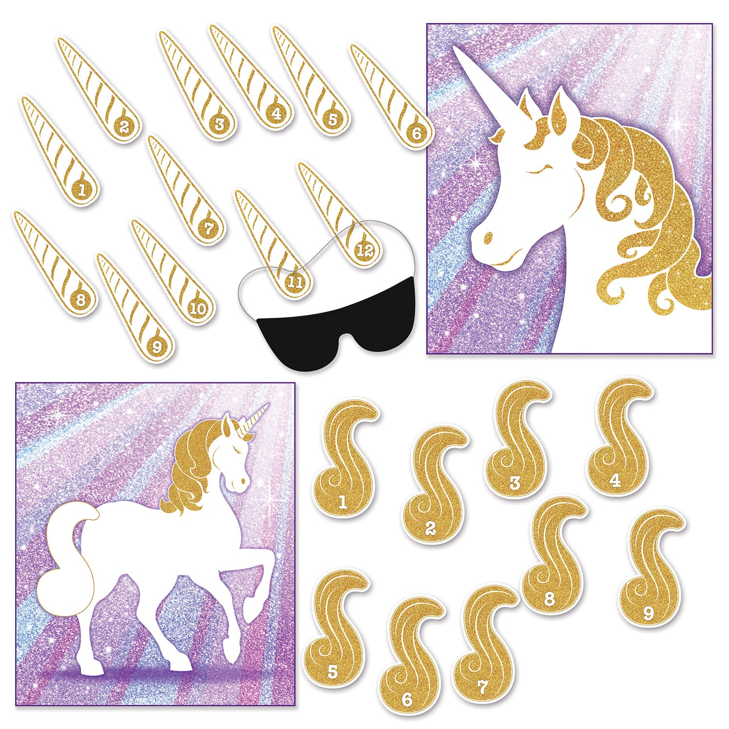 Unicorn Party Games (2/Pkg) by Beistle - Unicorn Theme Decorations