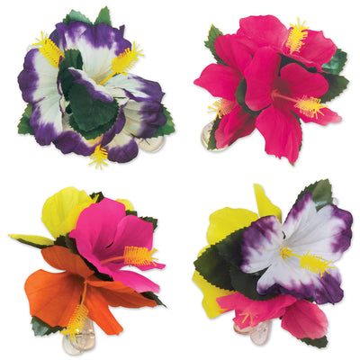 Tropical Hair Clips (4/Pkg) by Beistle - Luau Theme Decorations