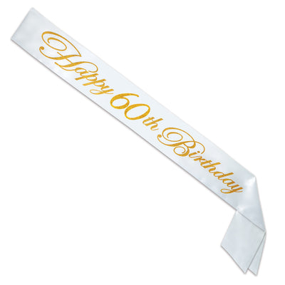 Glittered Happy 60th Birthday Satin Sash by Beistle - 60th Birthday Party Decorations