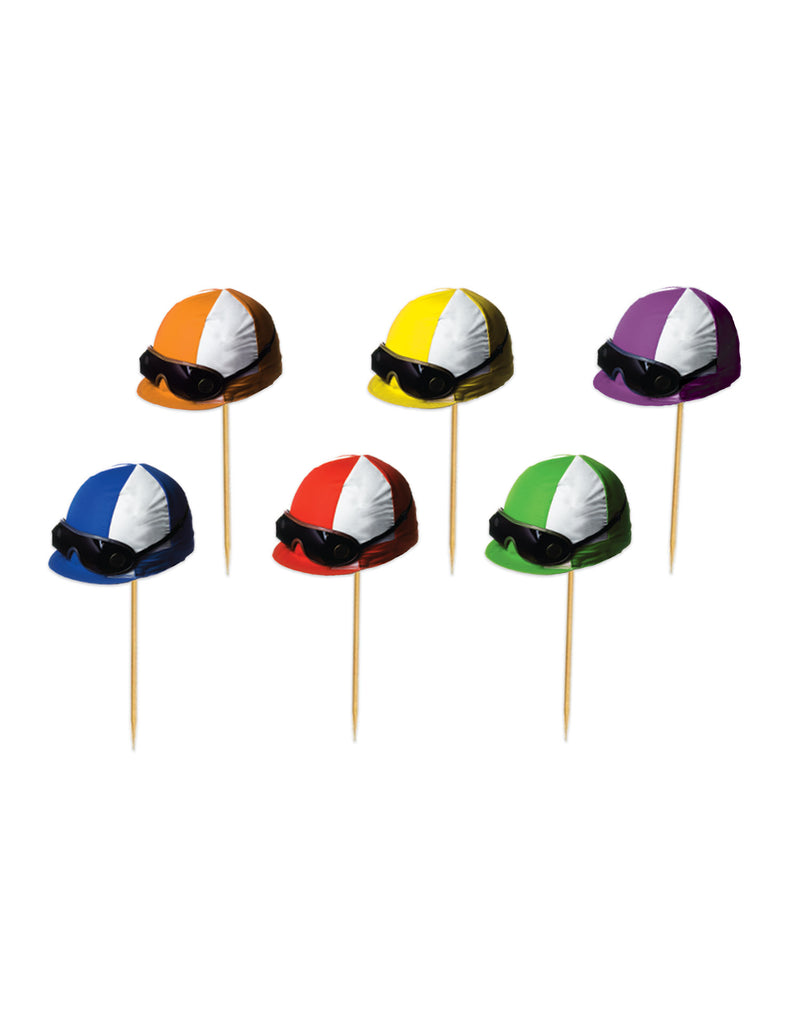 Jockey Helmet Picks (50/Pkg) by Beistle - Derby Day Theme Decorations