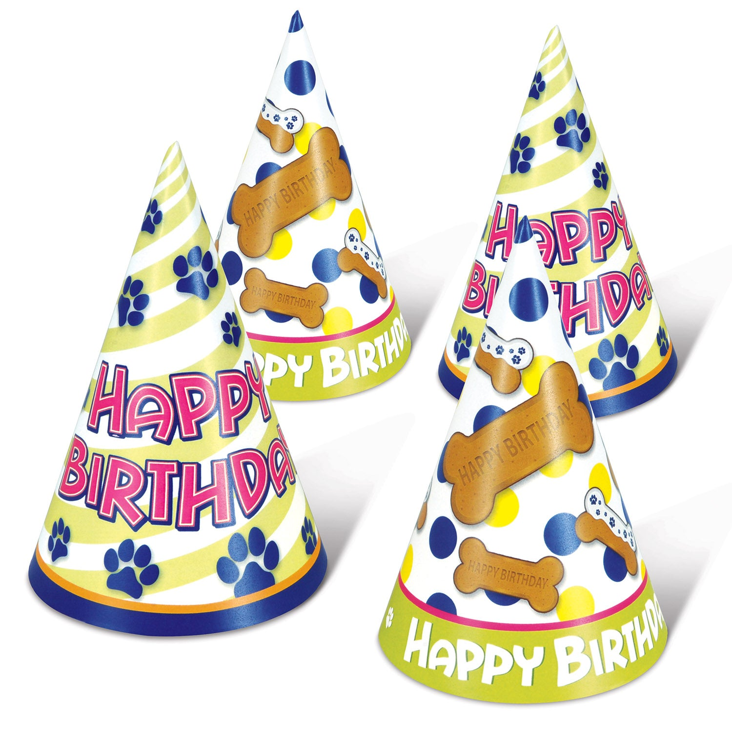 Dog Birthday Cone Hats (4/Pkg) by Beistle - Pets Theme Decorations