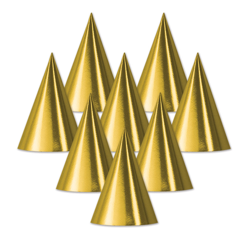 Foil Cone Hat, gold by Beistle - Birthday Party Supplies Decorations