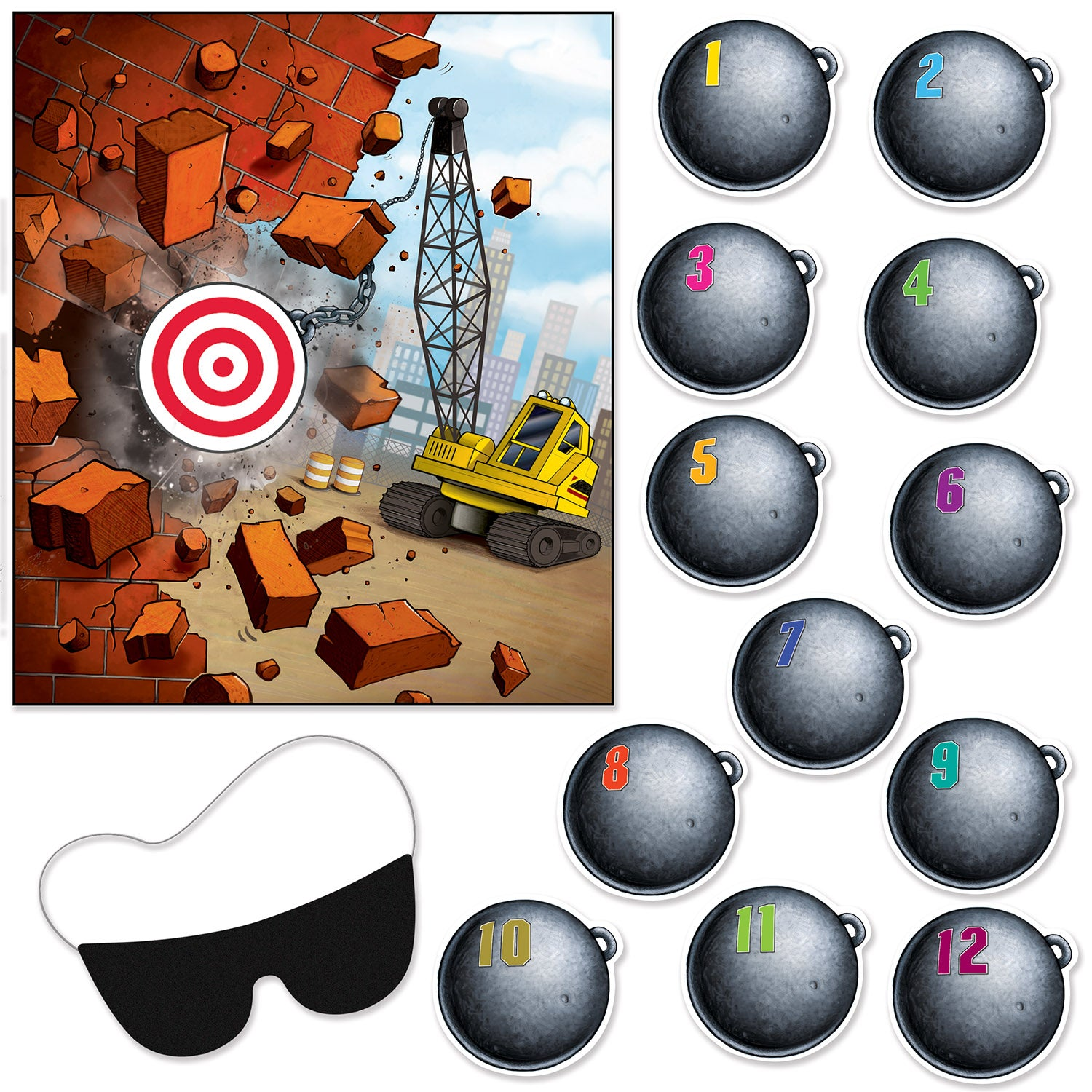Pin The Wrecking Ball On The Crane Game by Beistle - Construction Theme Decorations