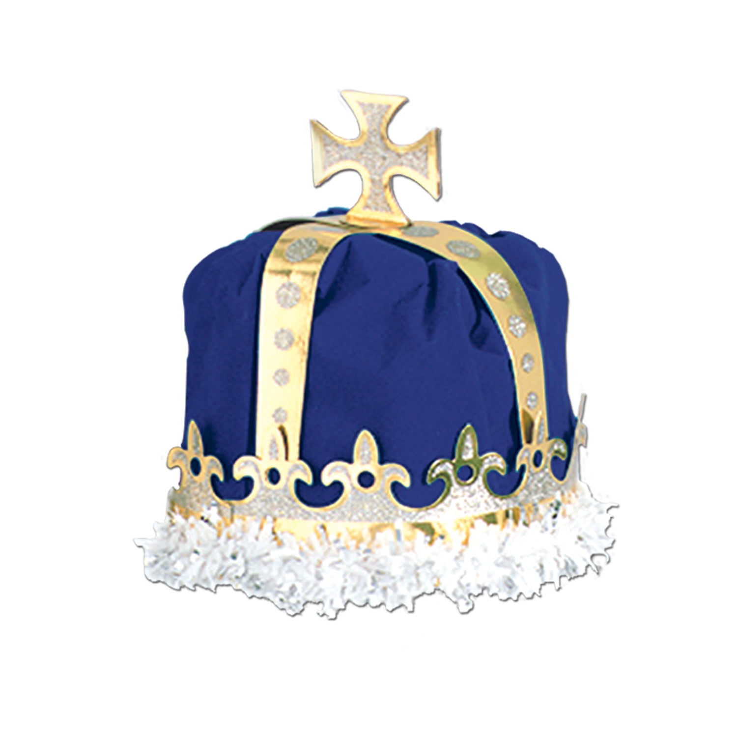 Royal King's Crown, blue; velvet-textured by Beistle - Mardi Gras Theme Decorations