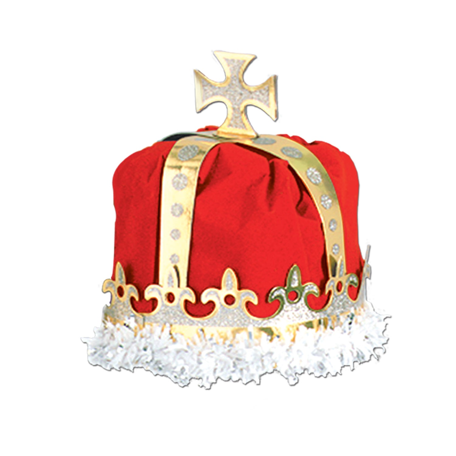 Royal King's Crown, red; velvet-textured by Beistle - Mardi Gras Theme Decorations