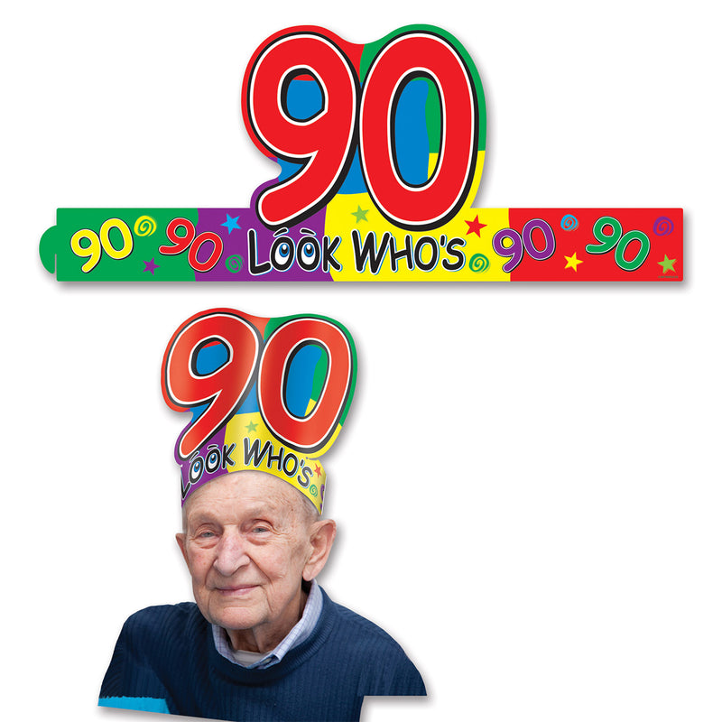 Look Who's 90 Headband by Beistle - 90th Birthday Party Decorations