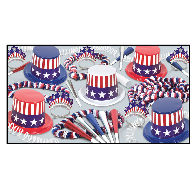Spirit Of America Clear-View Assortment for 10 by Beistle - Patriotic Theme Decorations
