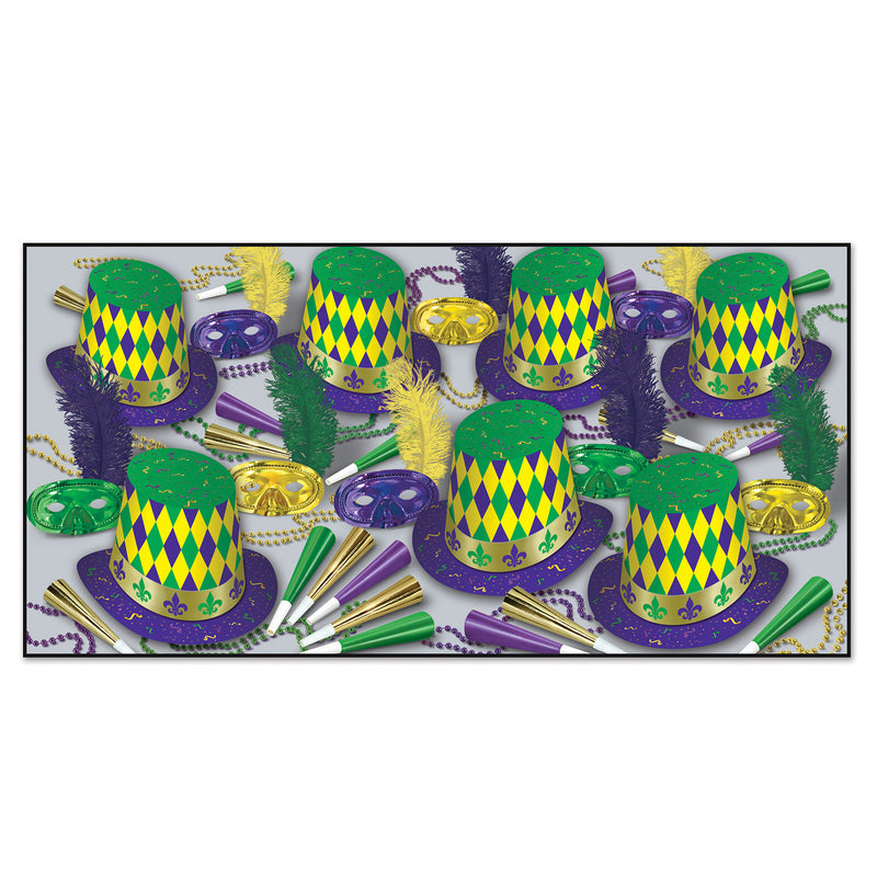 Mardi Gras Assortment for 50 people by Beistle - Mardi Gras Theme Decorations