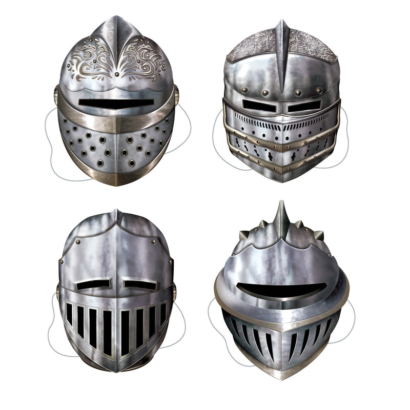 Knight Masks (4/Pkg) by Beistle - Medieval Theme Decorations