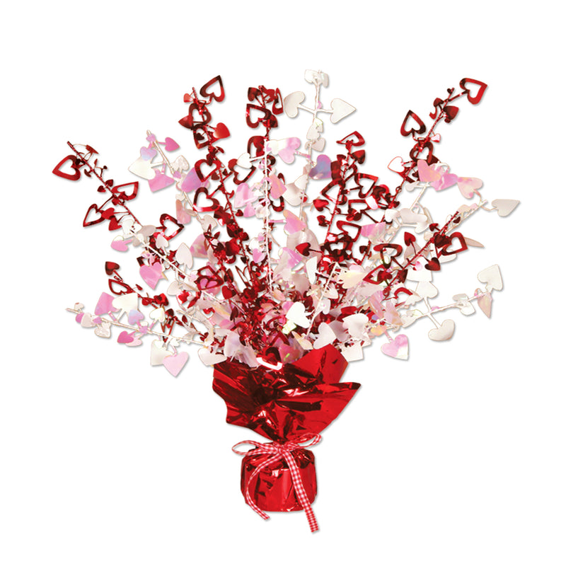 Heart Gleam 'N Burst Centerpiece, red & opalescent by Beistle - Valentines Day Theme Decorations