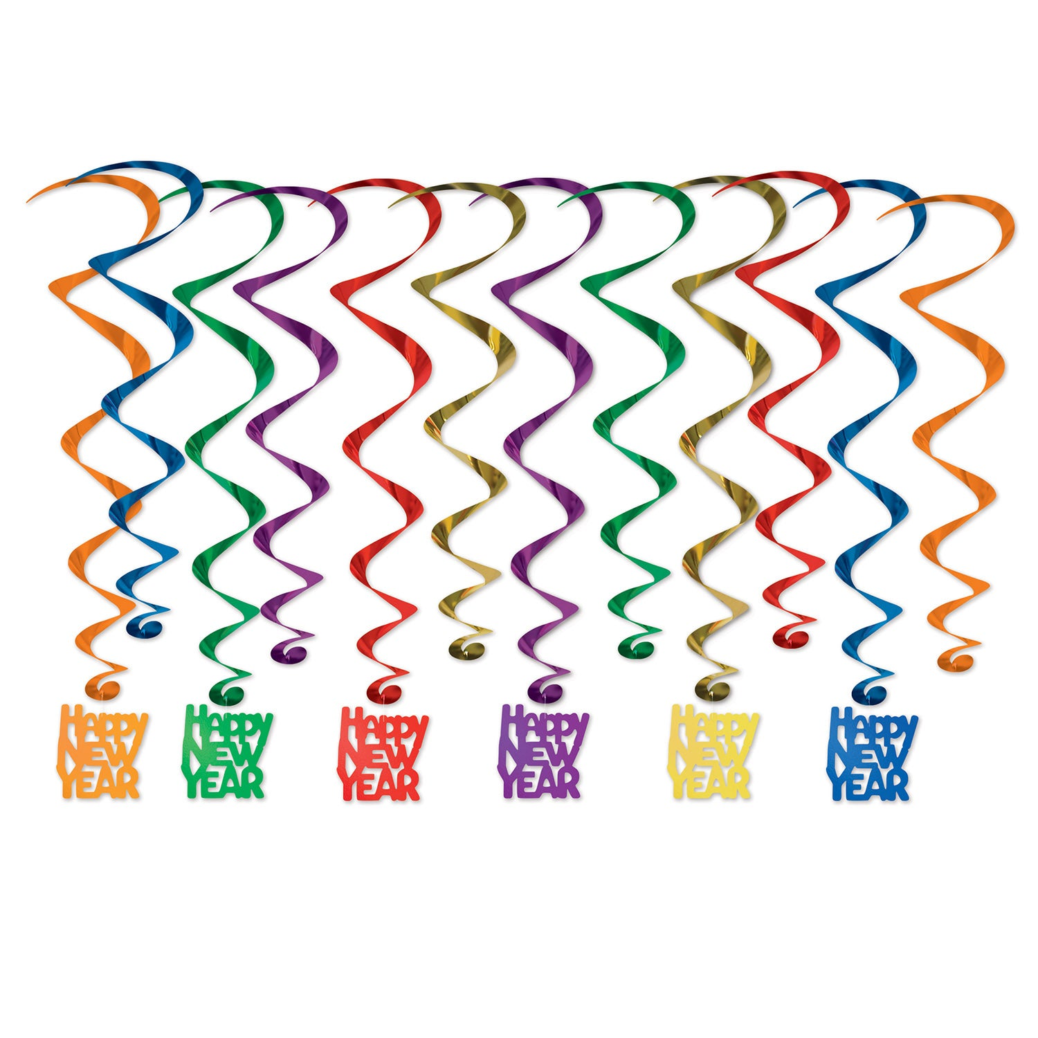 Happy New Year Whirls (12/Pkg) by Beistle - New Year's Eve Theme Decorations