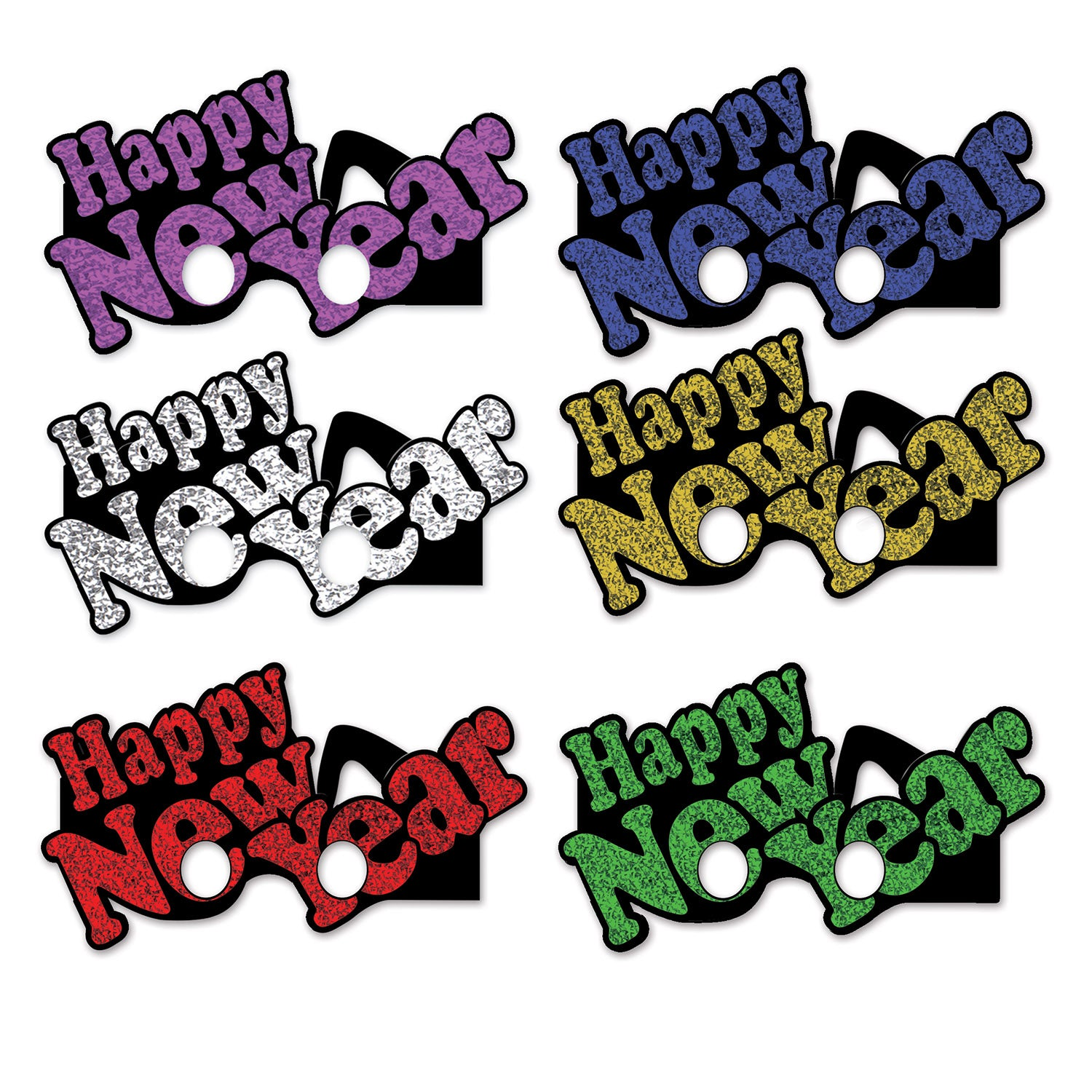 Happy New Year Eyeglasses (6/Pkg), asstd colors; glitter print by Beistle - New Year's Eve Theme Decorations