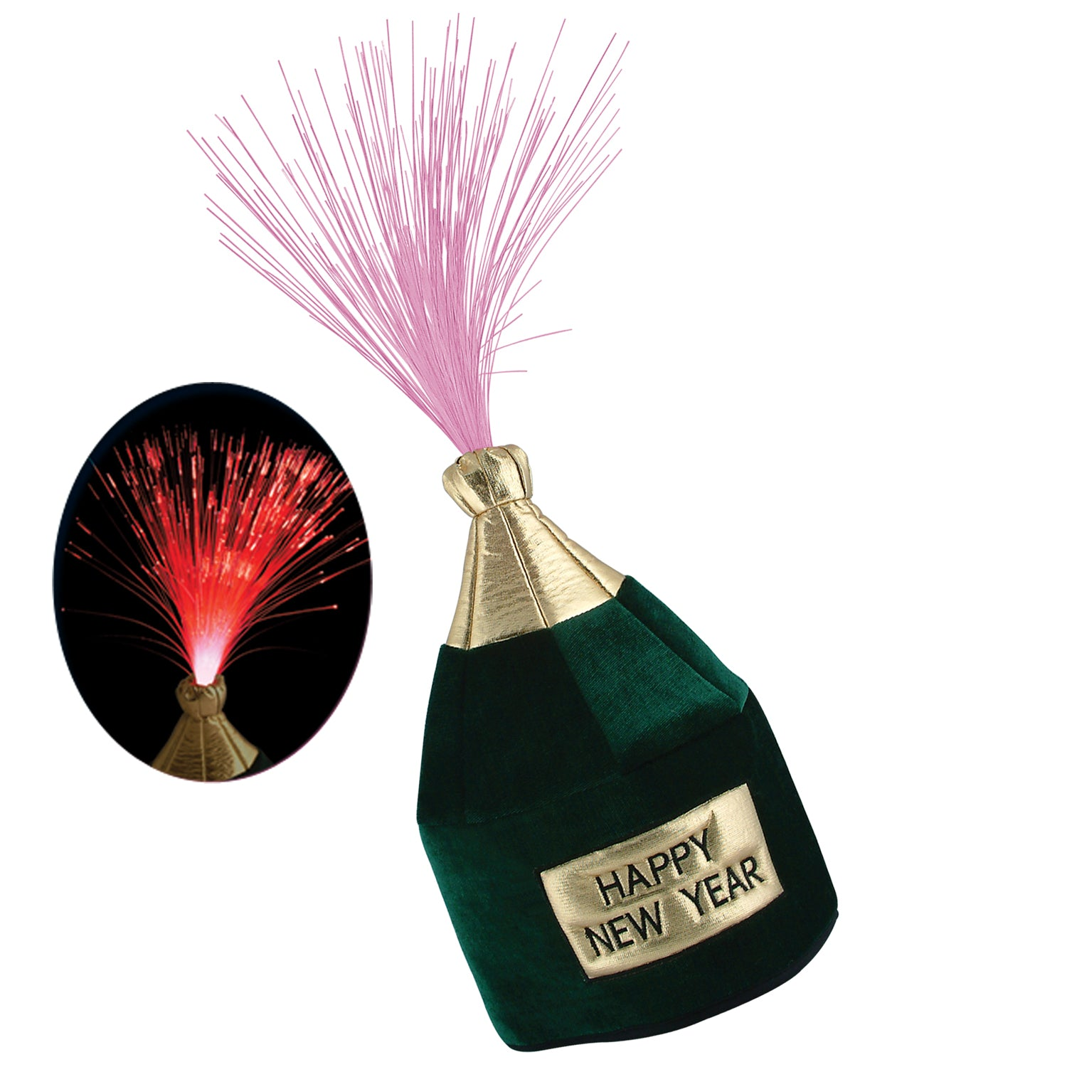 Light-Up Happy New Year Bottle Head Hat by Beistle - New Year's Eve Theme Decorations