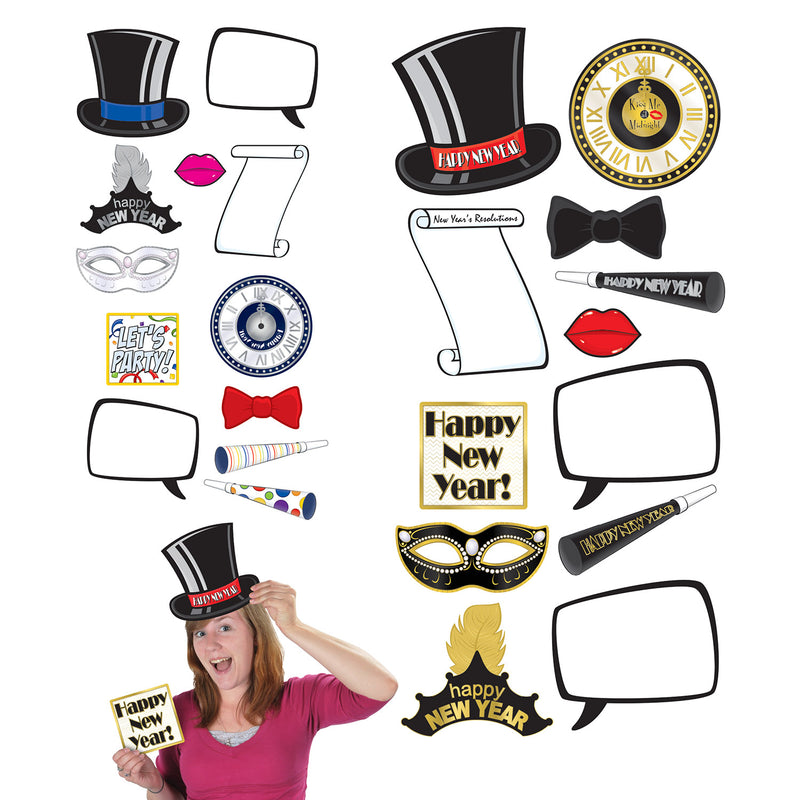 New Year Photo Fun Signs (12/Pkg) by Beistle - New Year's Eve Theme Decorations