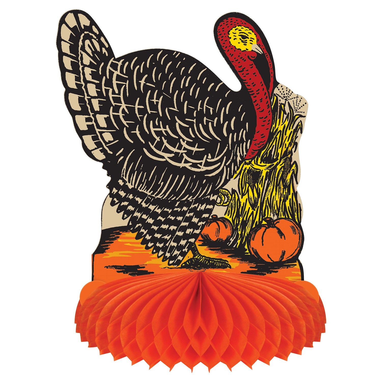 Vintage Fall Harvest Turkey Centerpiece by Beistle - Fall and Thanksgiving Theme Decorations
