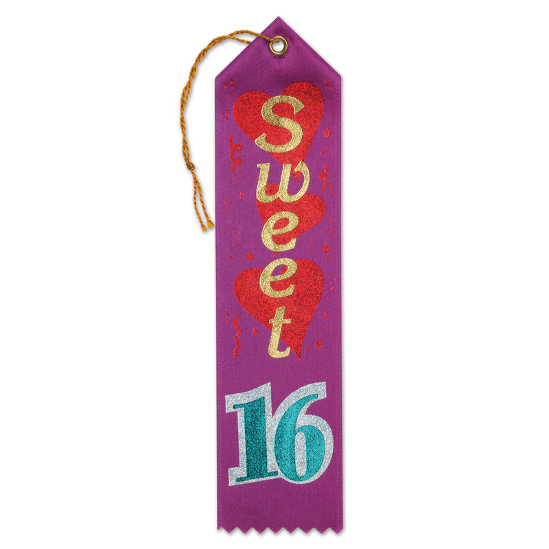 Sweet Sixteen Award Ribbon by Beistle - Sweet 16 Birthday Decorations