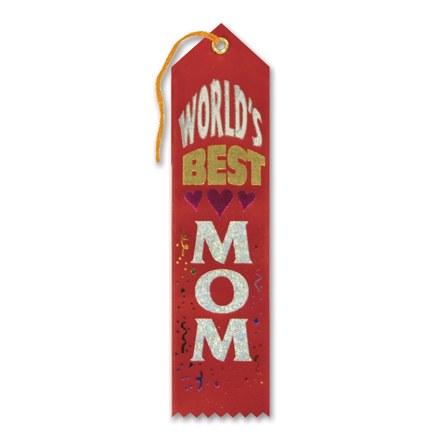 World's Best Mom Award Ribbon, red by Beistle - Mother's Day Theme Decorations