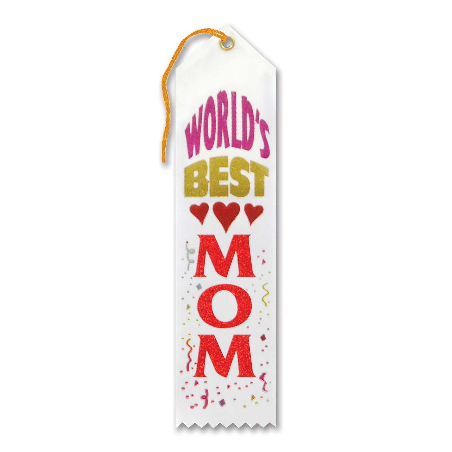 World's Best Mom Award Ribbon, white by Beistle - Mother's Day Theme Decorations