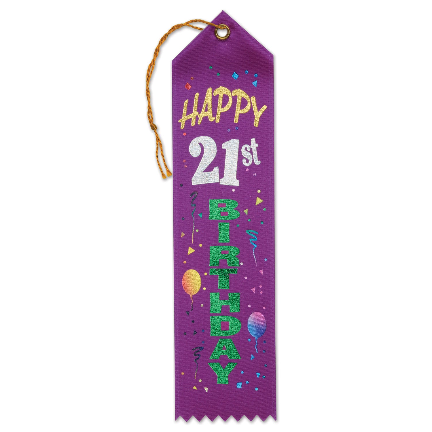 Happy 21st Birthday Award Ribbon by Beistle - 21st Birthday Theme Decorations