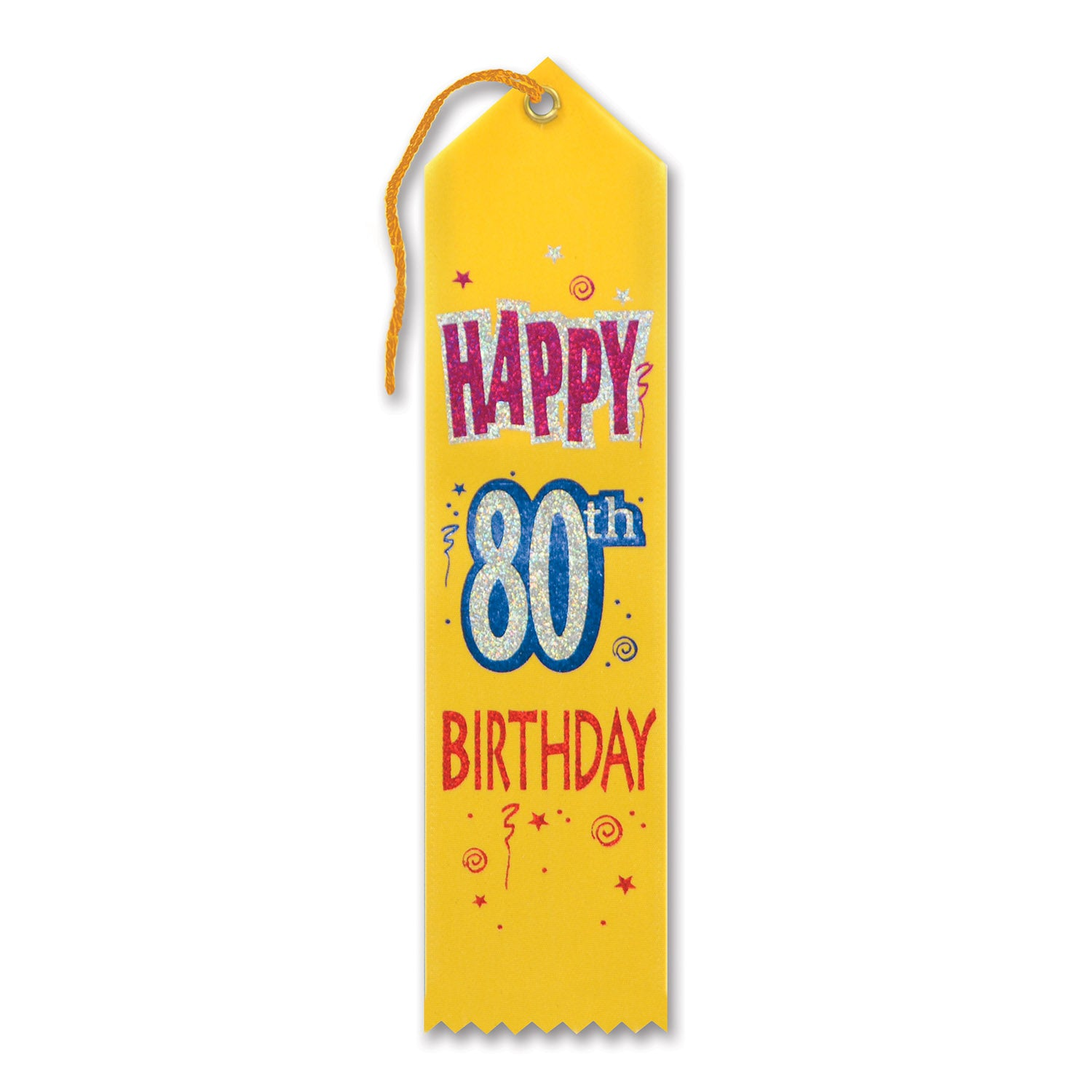 Happy 80th Birthday Award Ribbon by Beistle - 80th Birthday Party Decorations