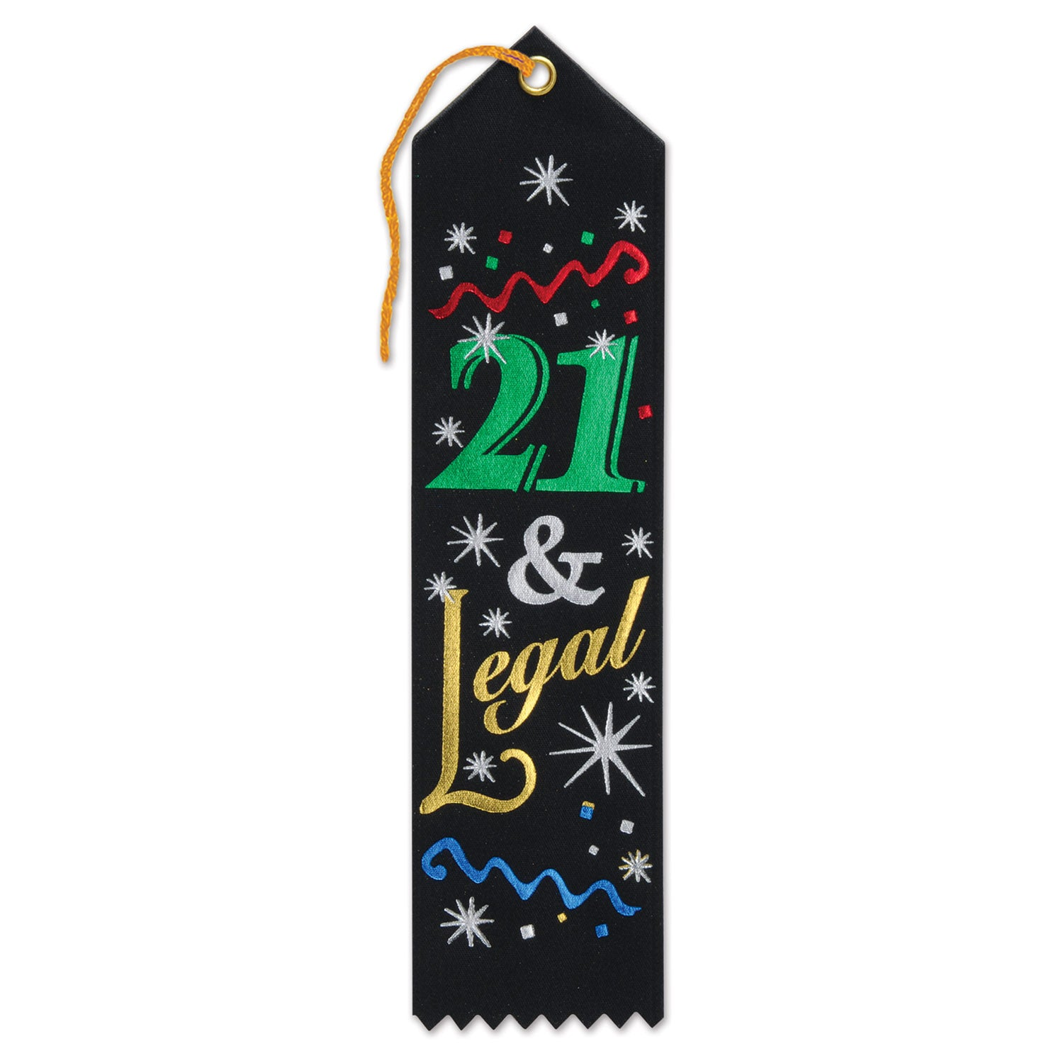 21 & Legal Award Ribbon by Beistle - 21st Birthday Theme Decorations