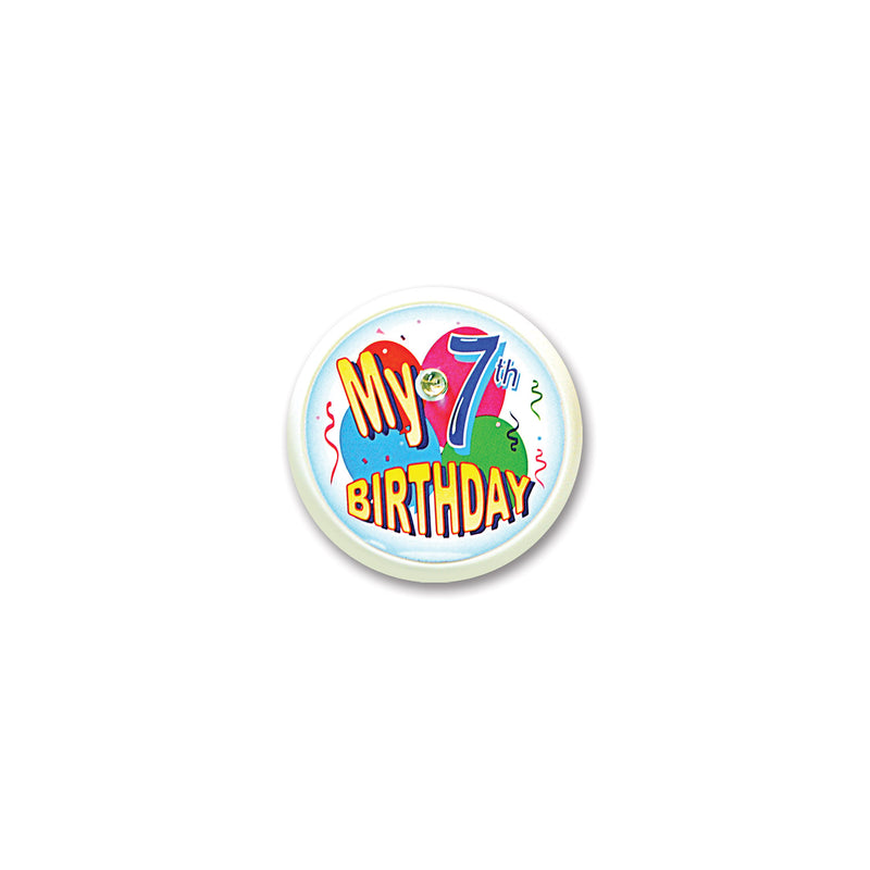 My 7th Birthday Blinking Button by Beistle - 7th Birthday Party Decorations