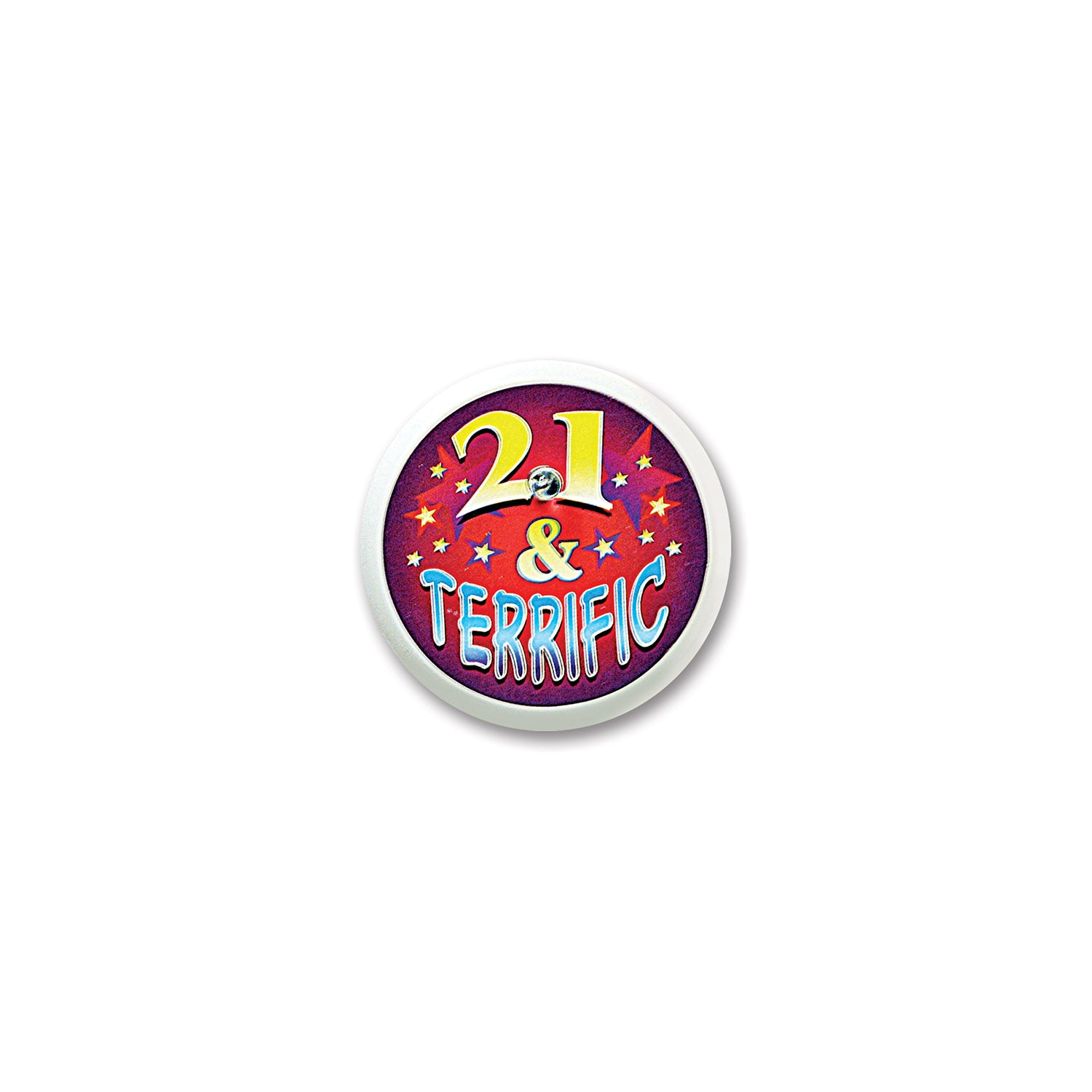 21 & Terrific Blinking Button by Beistle - 21st Birthday Theme Decorations
