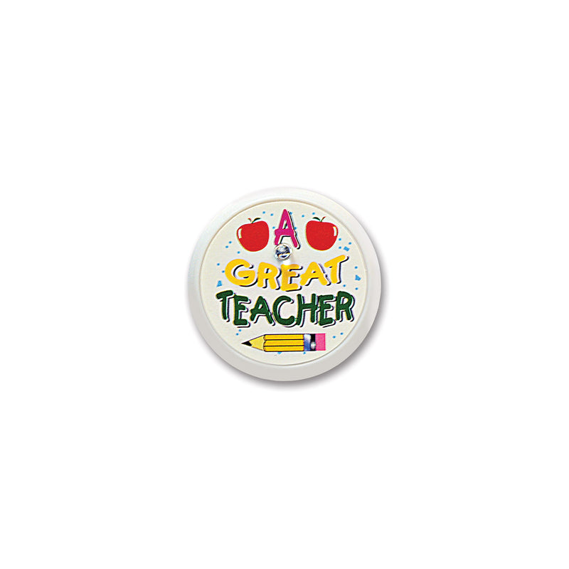 A Great Teacher Blinking Button by Beistle - School Awards and Supplies Decorations