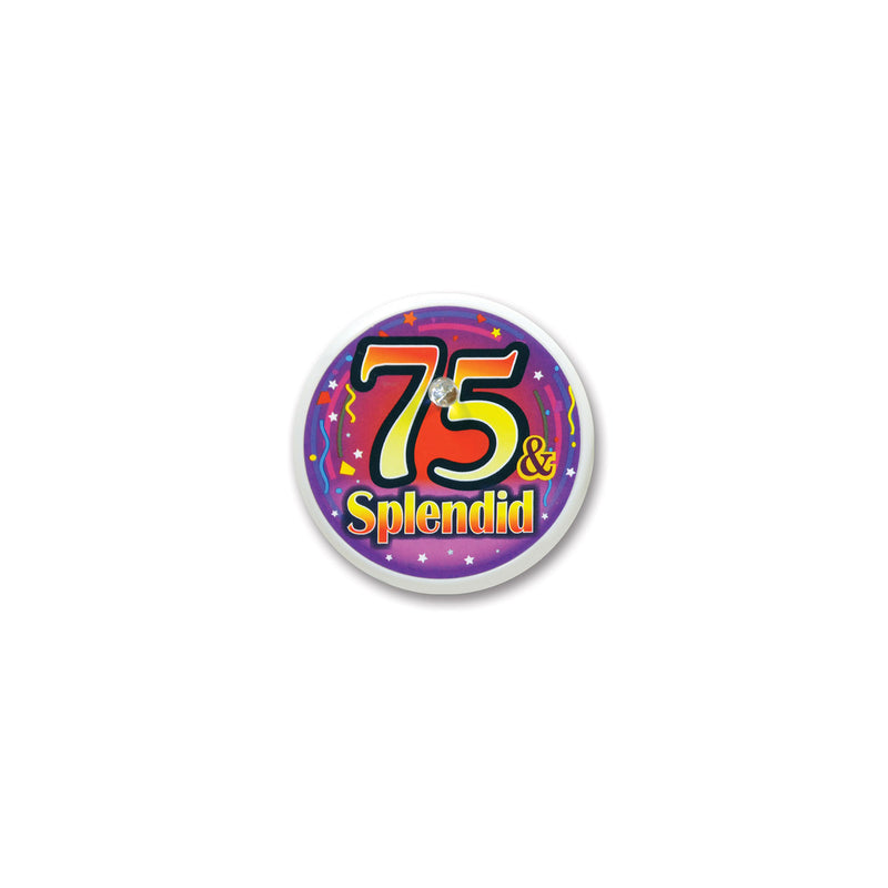 75 & Splendid Blinking Button by Beistle - 75th Birthday Party Decorations