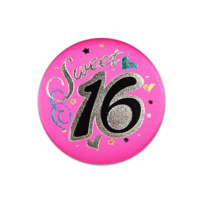 Sweet 16 Satin Button by Beistle - Sweet 16 Birthday Decorations