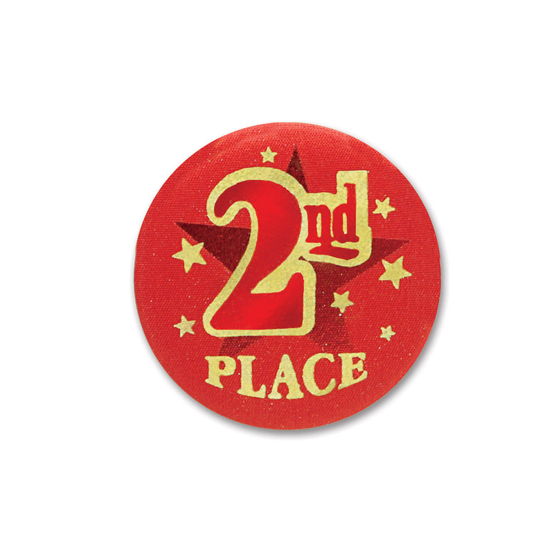 2nd Place Satin Button by Beistle - Sports Theme Decorations