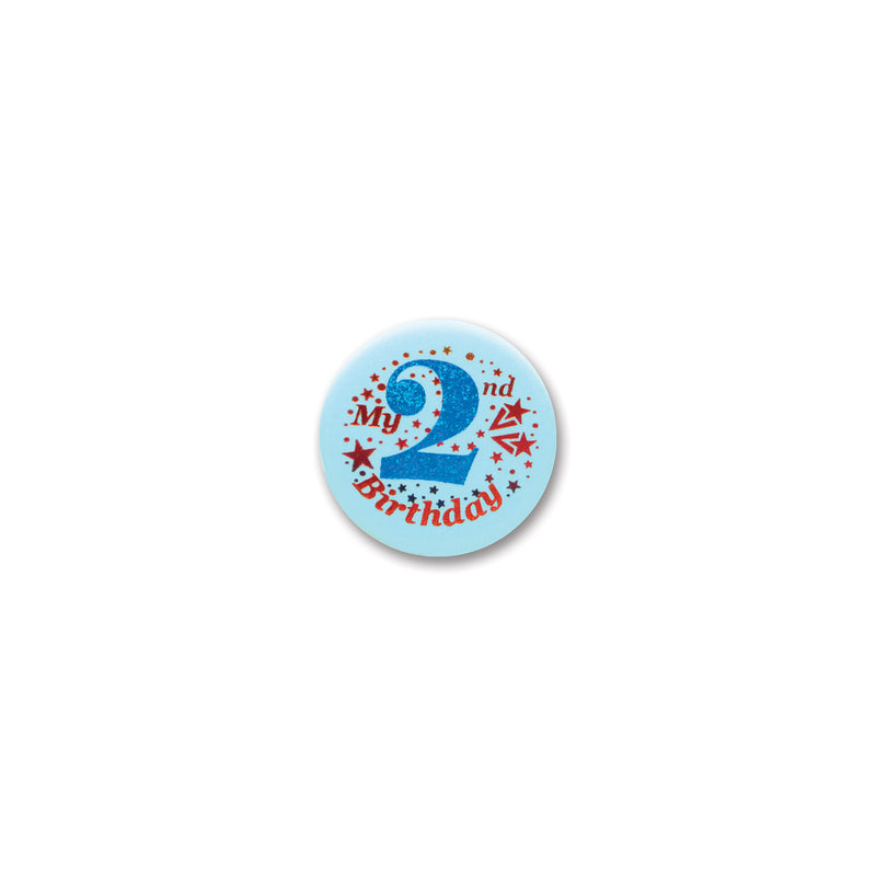 My 2nd Birthday Satin Button, blue by Beistle - 2nd Birthday Party Decorations
